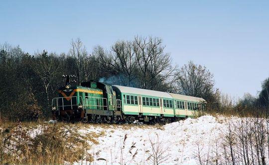 """""""Kociołek"""" jako """"zaszynobus"""" na pociągu nr 817 z Nowogardu do Goleniowa"""