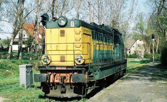 Niezmodernizowana lokomotywa serii SP32 na końcowej stacji Kudowa Zdrój