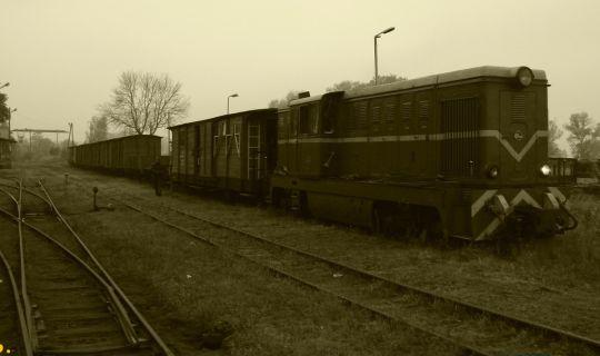 Wieczorne manewry 8-wagonowego wąskotorowego pociągu towarowego