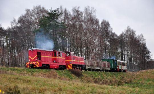 """Pociąg specjalny, uruchomiony w ramach obchodów 115-lecia """"wąskotorówki"""", zbliża się do Manowa"""